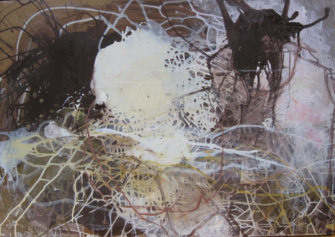 o.T. (Gespinst), 70x100, Acryl auf Holz, 2010