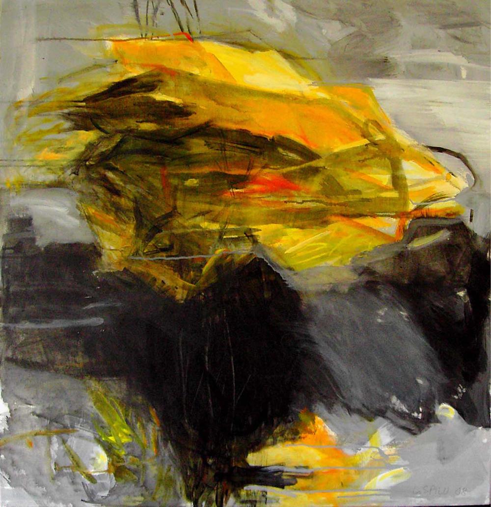 o.T. (gelb schwarz), 95x100, 2008
