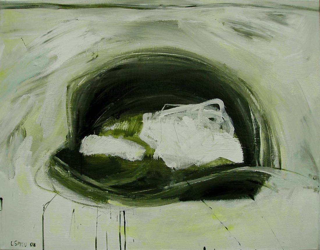 o.T. (offene Tasche grün), 75x95, 2008