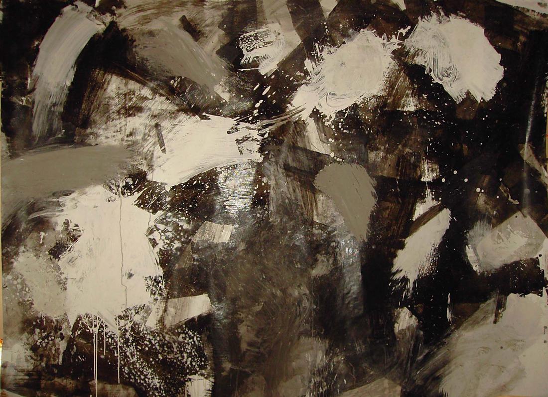 o.T. (schwarz-weiß), 160x220, Acryl auf Karton, 2006
