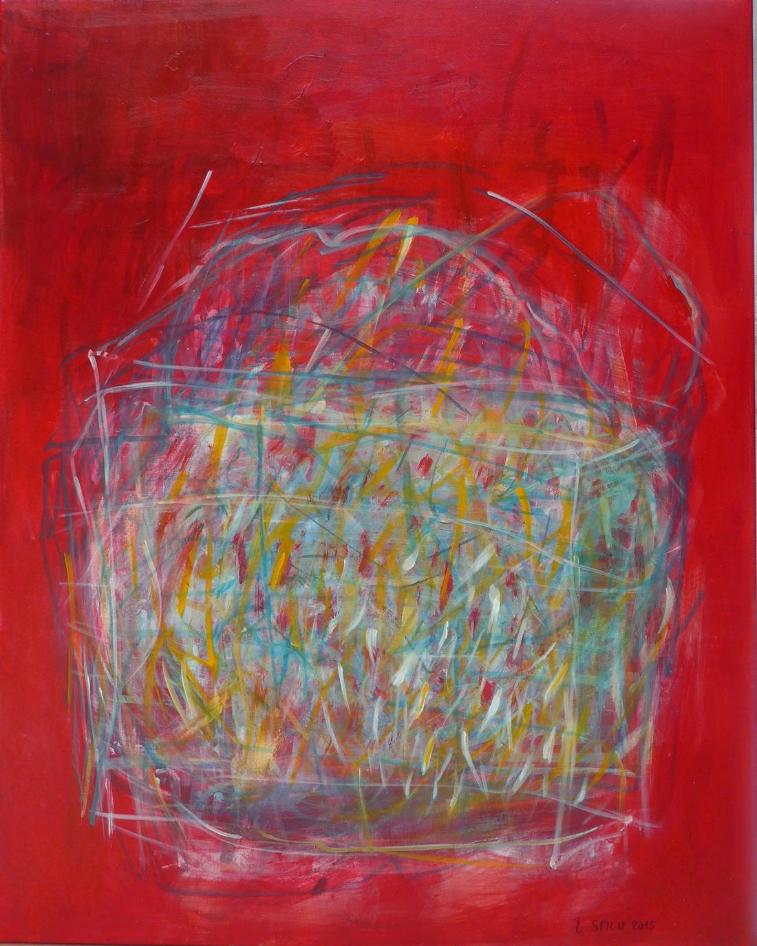 o.T. (Einkaufstasche auf Rot), 100x80, 2015